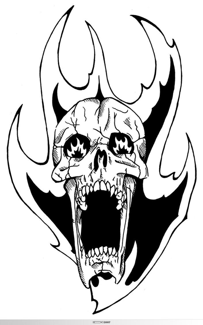 706x1130 Flaming Skull By Unholy God