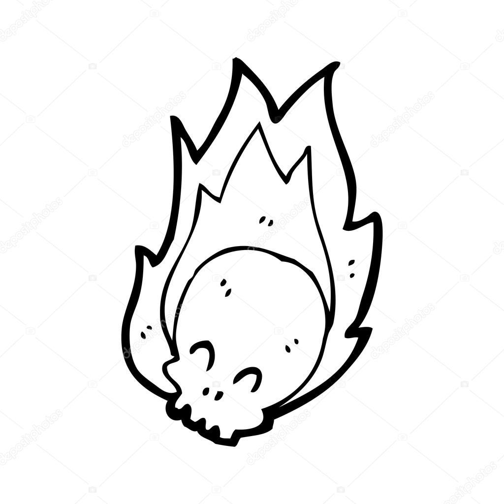 1024x1024 Flaming Skull Cartoon Stock Vector Lineartestpilot