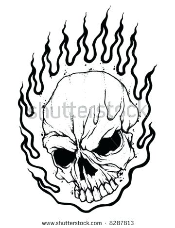 360x470 Good Flaming Skull Coloring Pages Online Drawing For Kids How