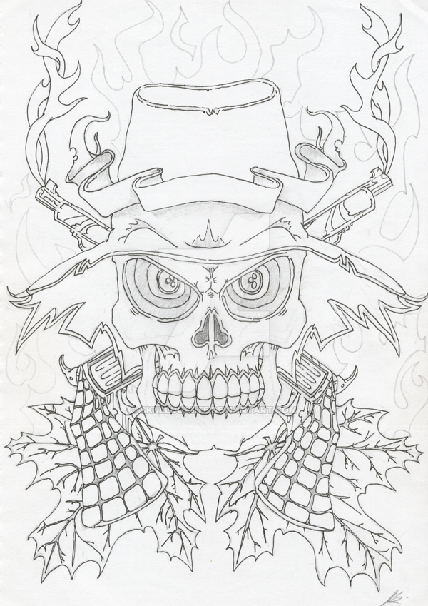 600x849 Skull, Hat And Flames By Skullduarte