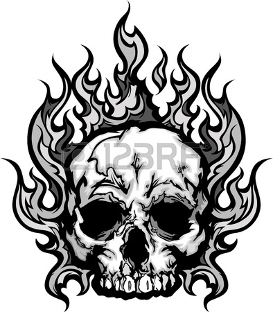 394x450 Skull On Fire With Flames Illustration Royalty Free Cliparts