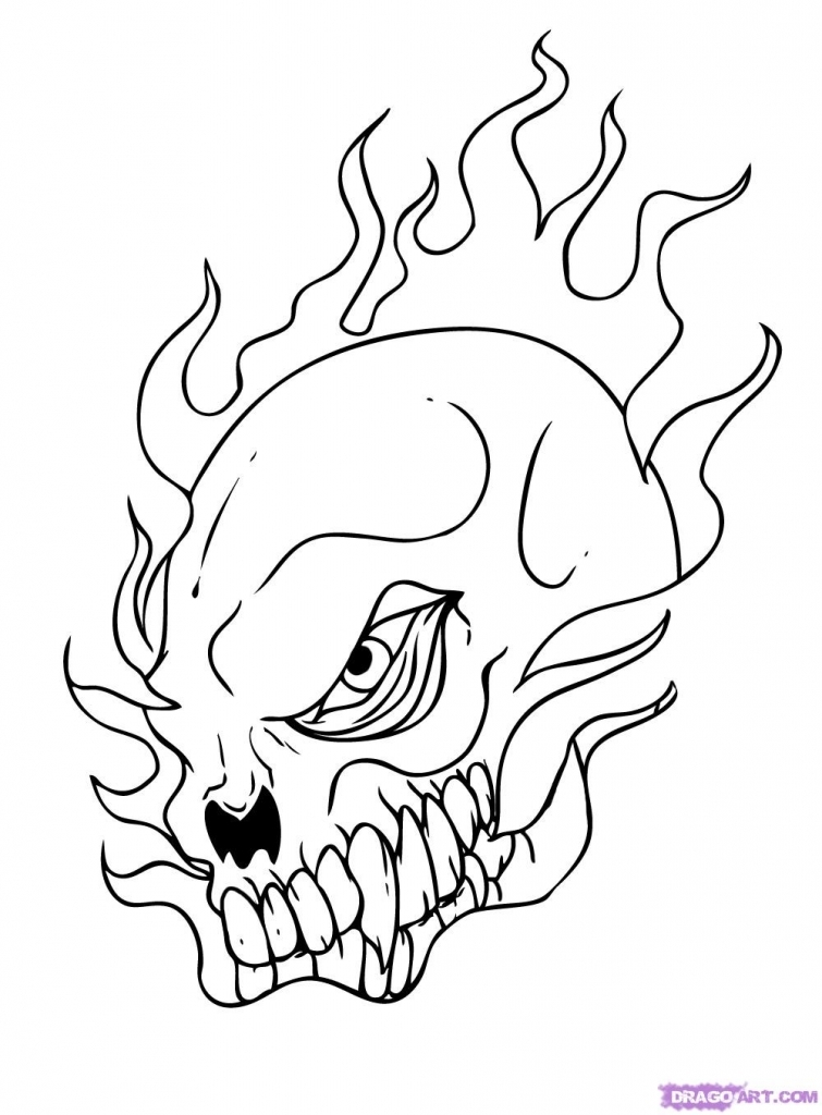 755x1024 Coloring How To Draw A Cool Flaming Skull As Well As How To Draw