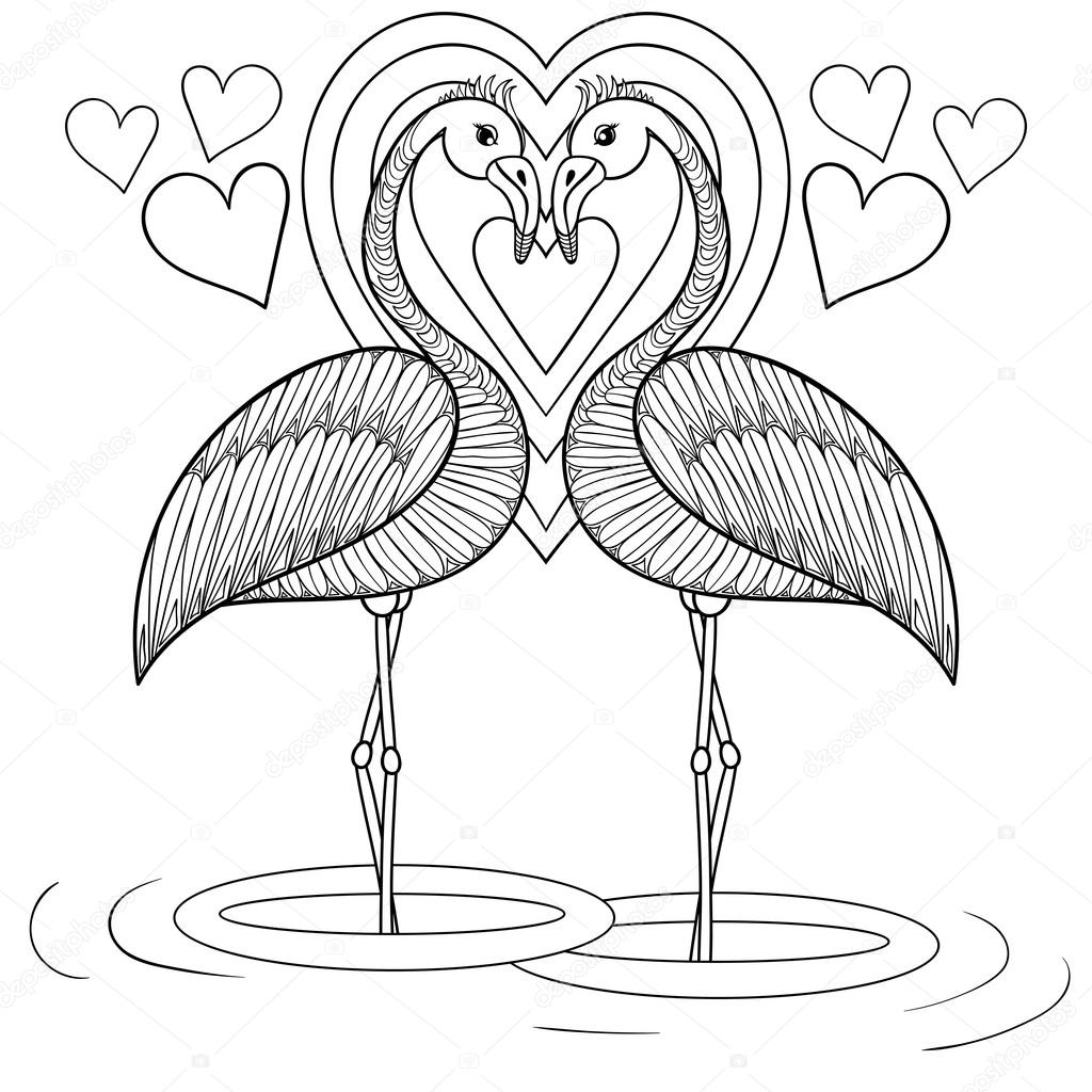 1024x1024 Coloring Page With Flamingo In Love, Zentangle Hand Drawing Illu