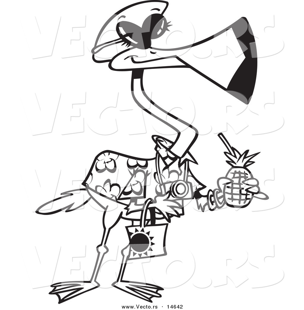 1024x1044 Vector Of A Cartoon Tourist Flamingo Carrying A Tropical Beverage