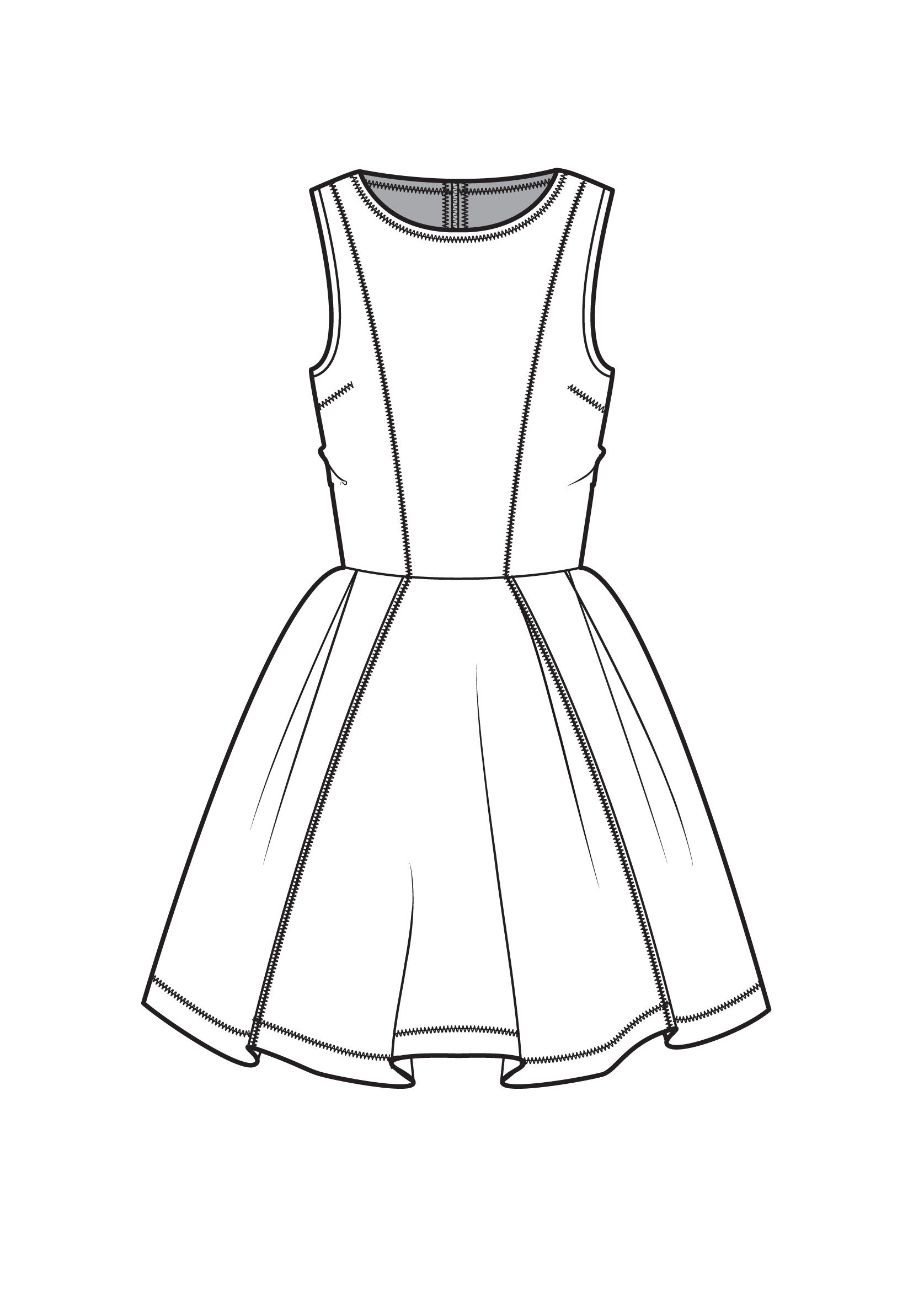 1675x2366 Fit And Flare Dress Fashion Flat Drawings