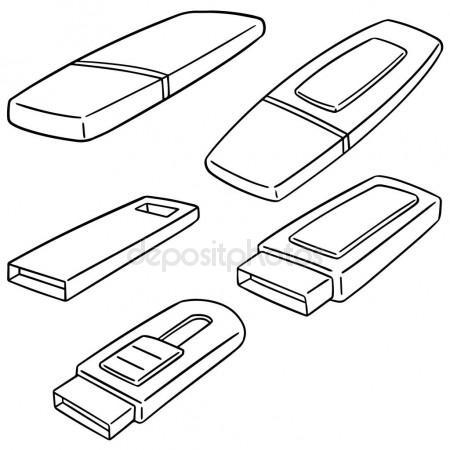 450x450 Usb Flash Drive Sketch Icon. Stock Vector Rastudio