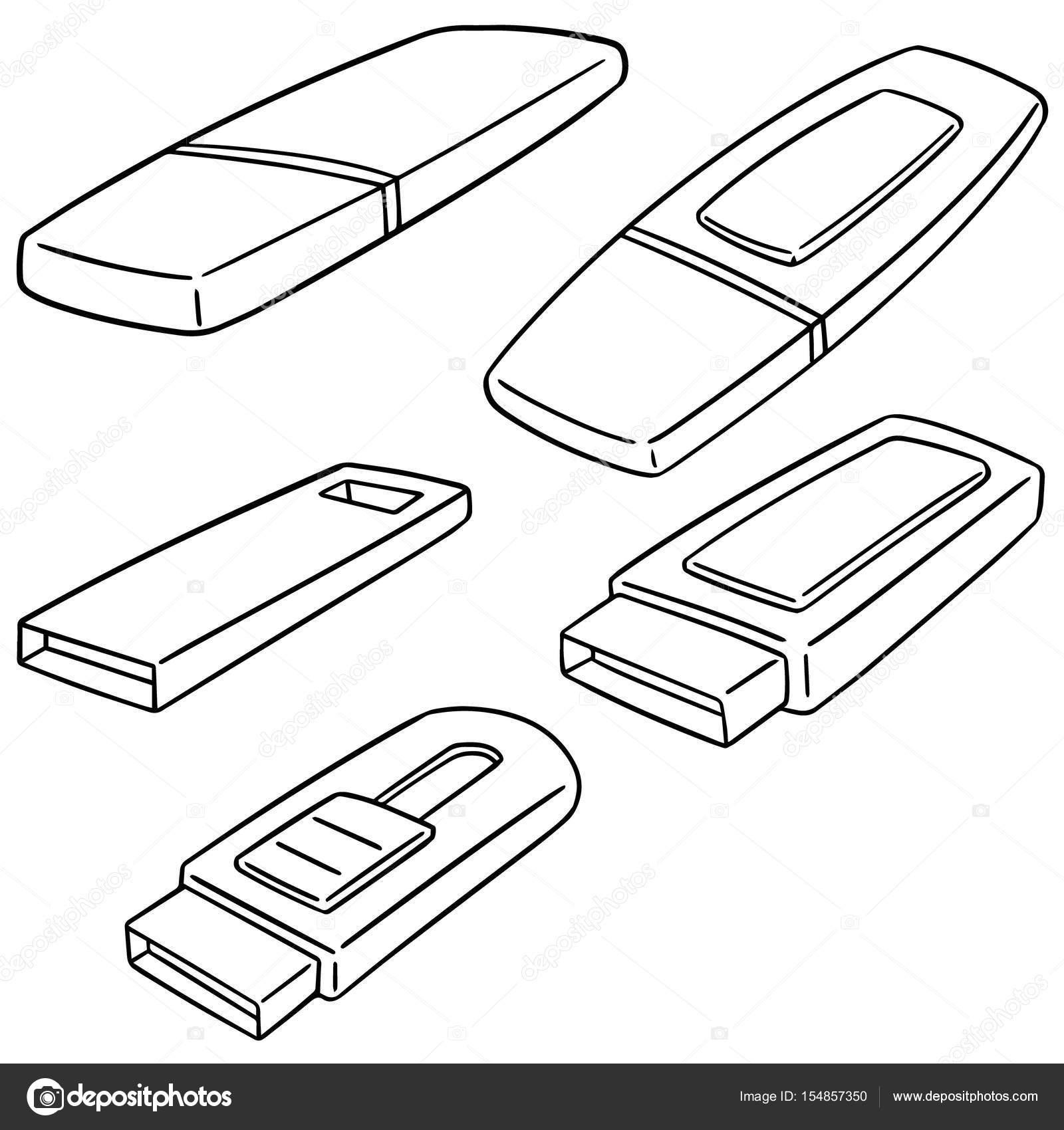 1600x1700 Vector Set Of Usb Flash Drive Stock Vector