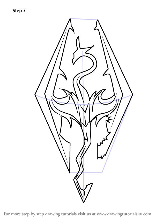 599x846 Learn How To Draw Skyrim Logo (The Elder Scrolls V Skyrim) Step