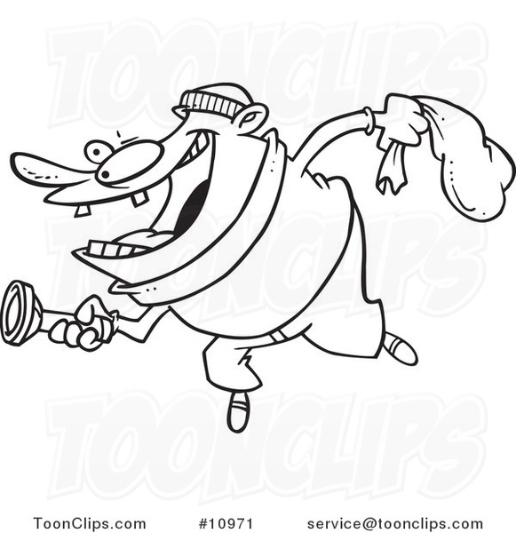 581x600 Cartoon Blacknd White Line Drawing Of Robber Using