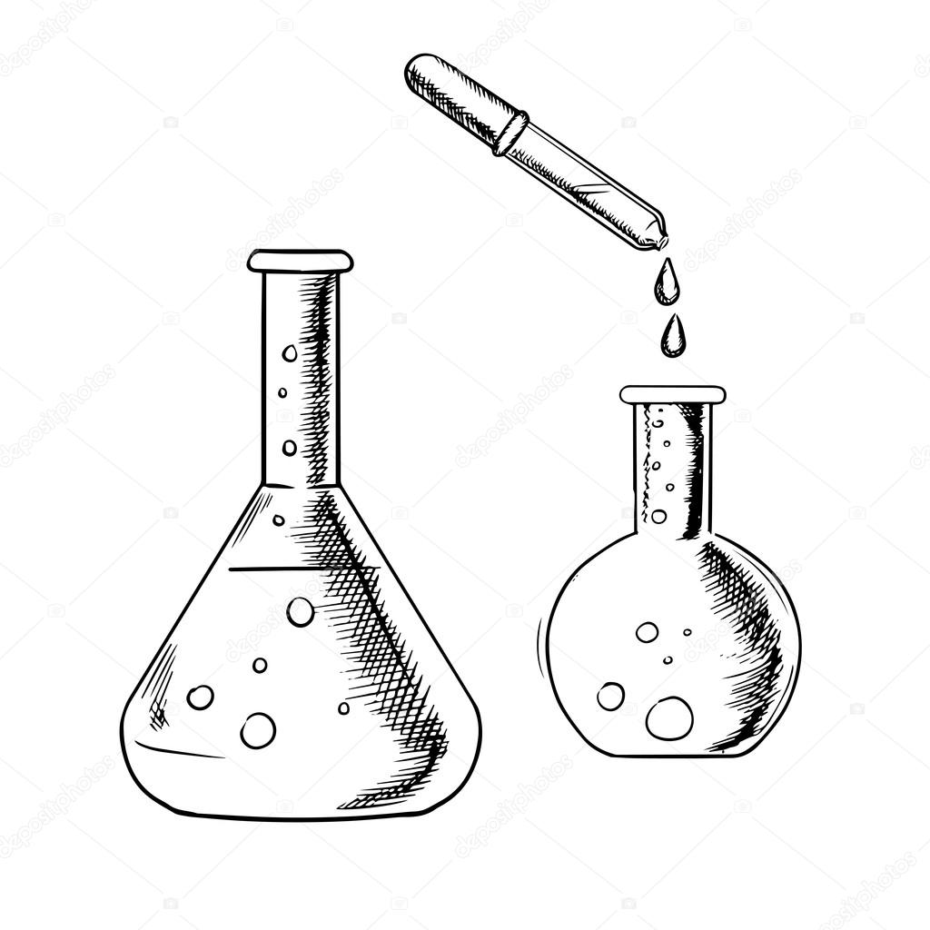 1024x1024 Dropper And Laboratory Flasks Sketch Stock Vector Seamartini