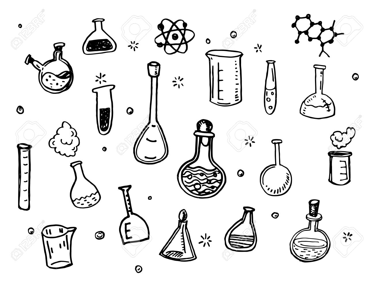 1300x994 Hand Drawn Chemistry Flasks Doodles Set Royalty Free Cliparts