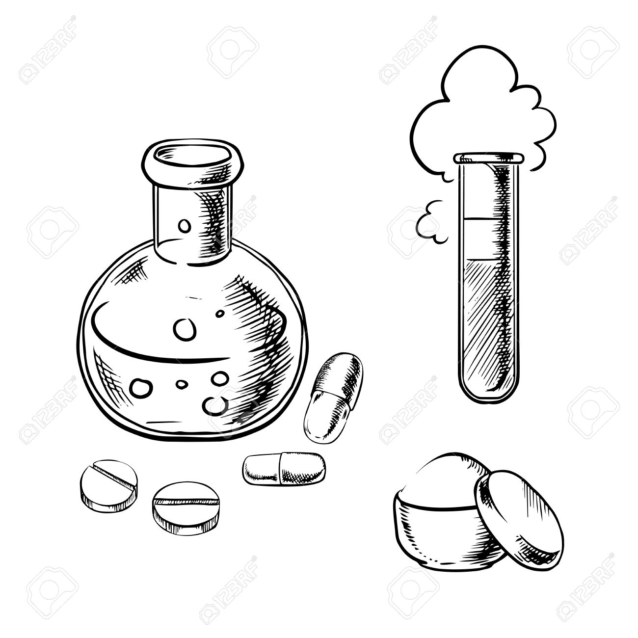 1300x1300 Laboratory Glass Flask And Tube With Bubbles And Cloud, Round