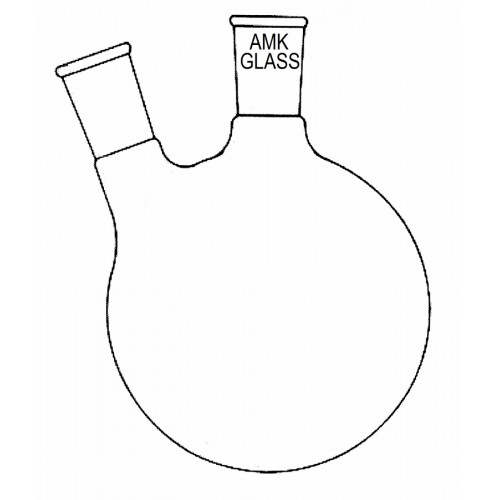 500x500 Round Bottom Flask, 2 Neck, Angled Joint