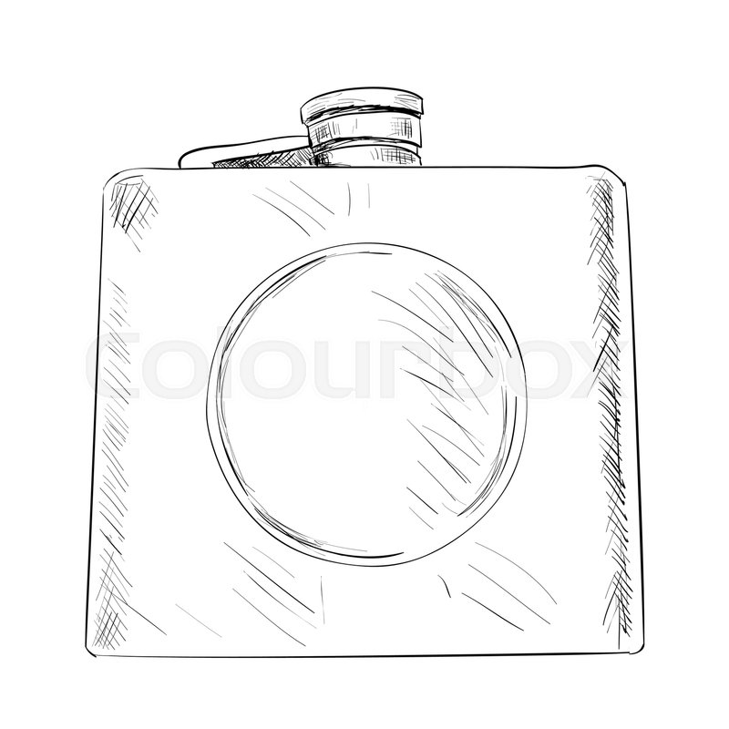 800x800 Vector Sketch Of Military Or Hunting Flask. Hand Draw Illustration