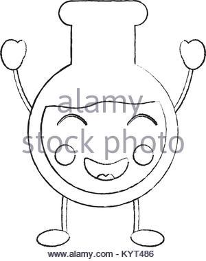300x380 Sketch Flask Glassware Medicine Laboratory Stock Vector Art