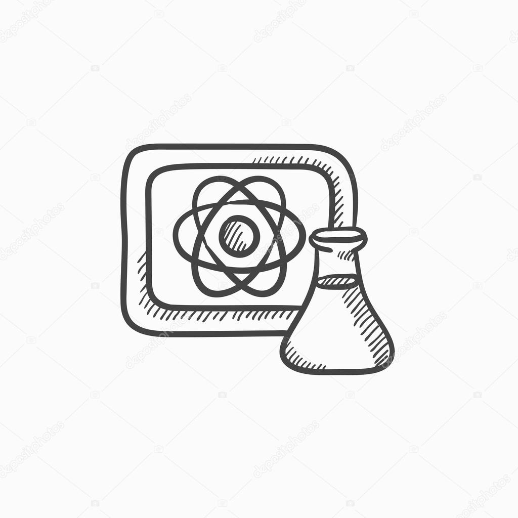 1024x1024 Atom Sign Drawn On Board And Flask Sketch Icon. Stock Vector