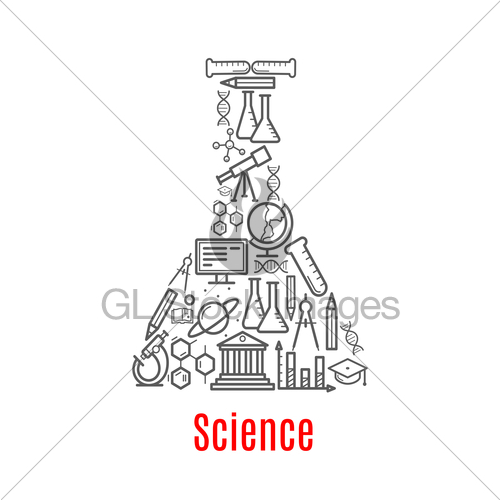500x500 Chemical Flask With Science, Education Vector Icon Gl Stock Images