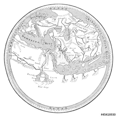 500x498 Medieval Map The Ancient Flat Earth