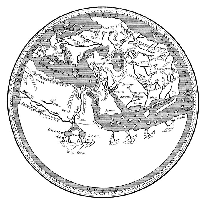 700x697 Medieval Map The Ancient Flat Earth