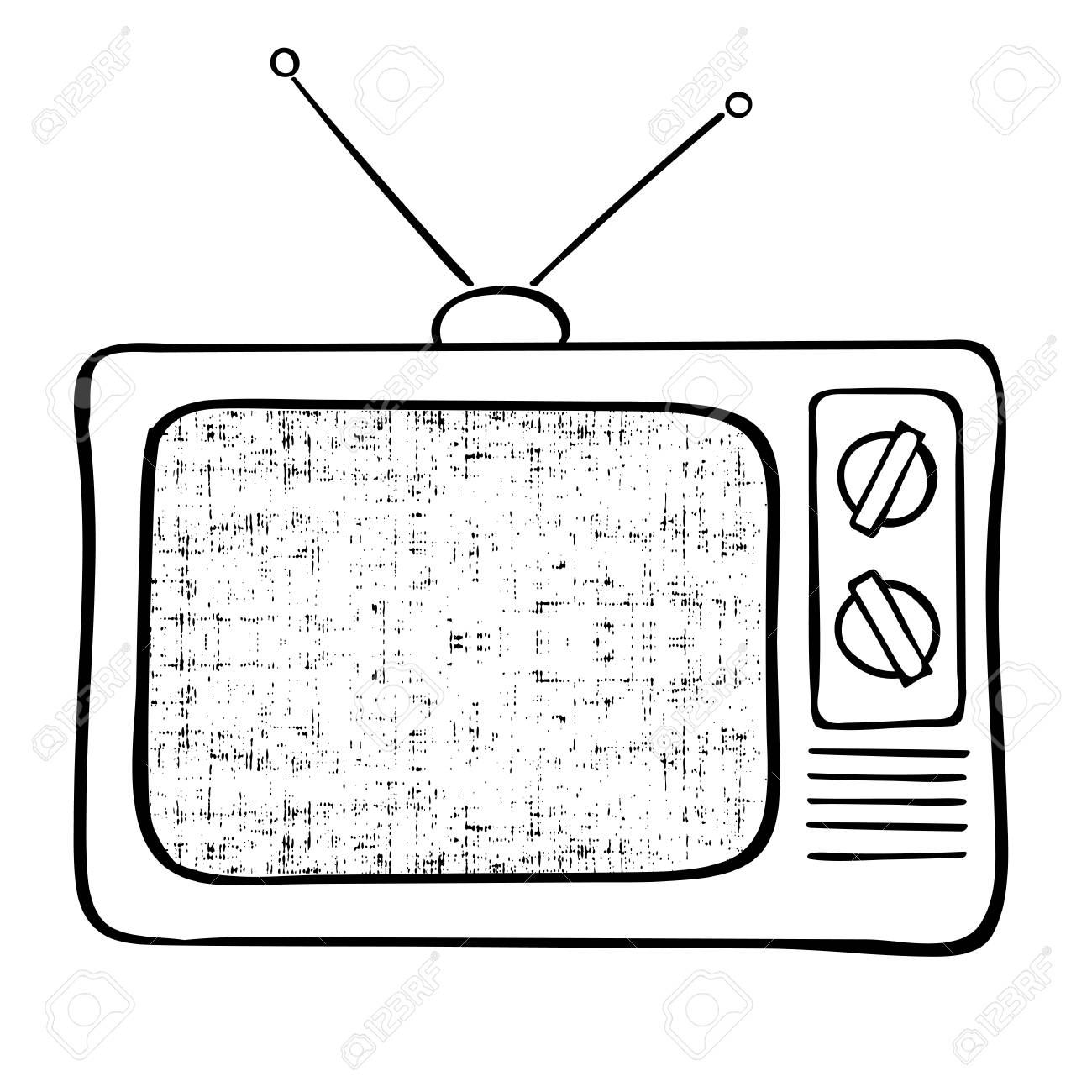1300x1300 Old Tv Set Hand Drawn Vector Illustration. Vintage Grunge