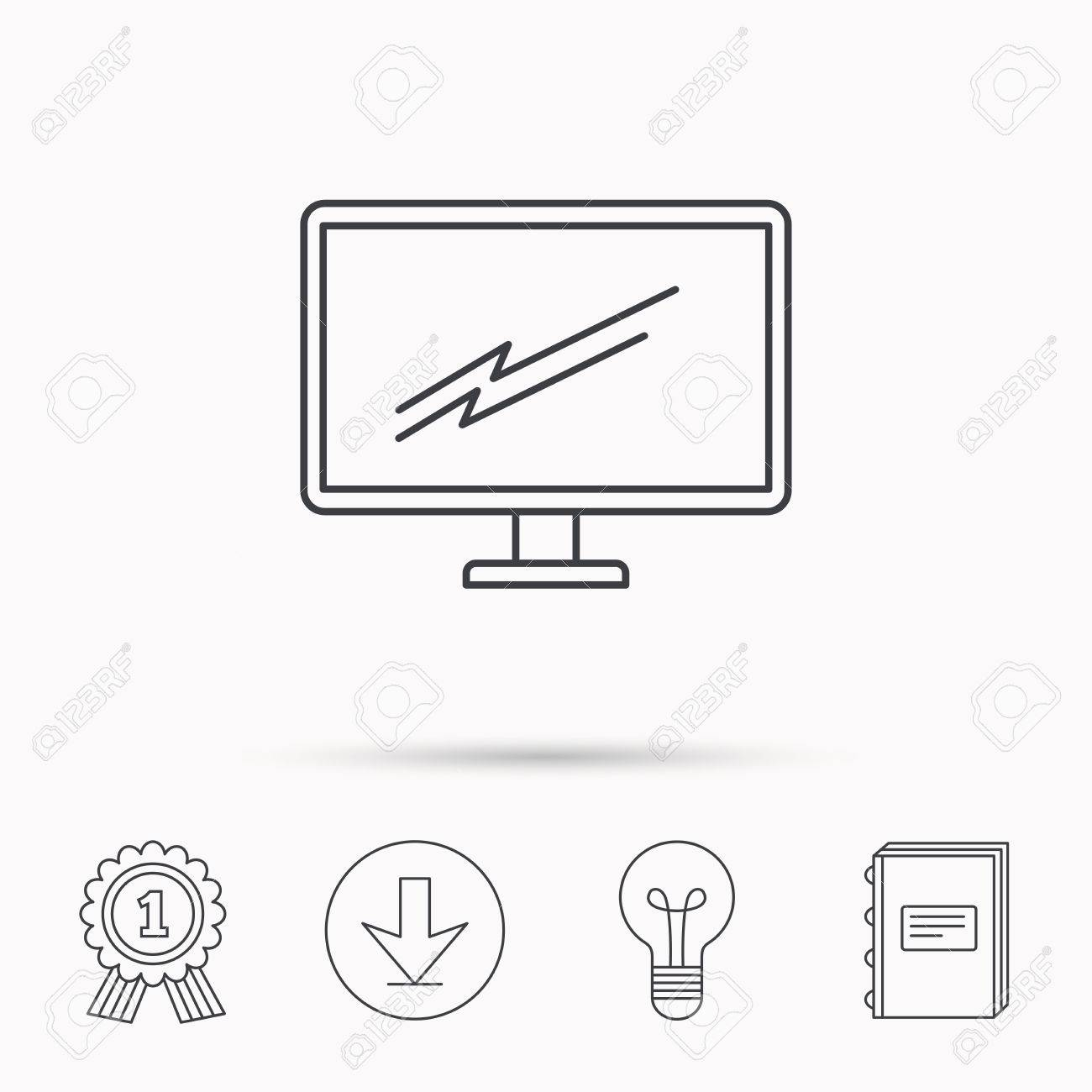 1300x1300 Pc Monitor Icon. Led Tv Sign. Widescreen Display Symbol. Download