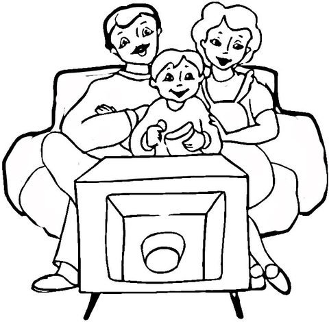 480x470 Tv Family Coloring Page Tv Show Coloring Pages