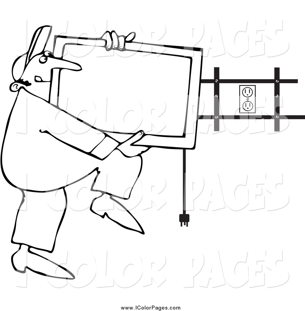 1024x1044 Vector Coloring Page Of A Black And White Tv Installer Worker By