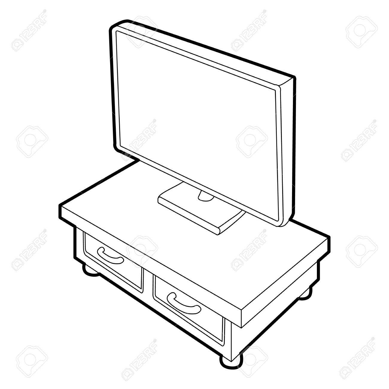 1300x1300 Wooden Tv Cabinet With Tv Icon. Isometric 3d Illustration