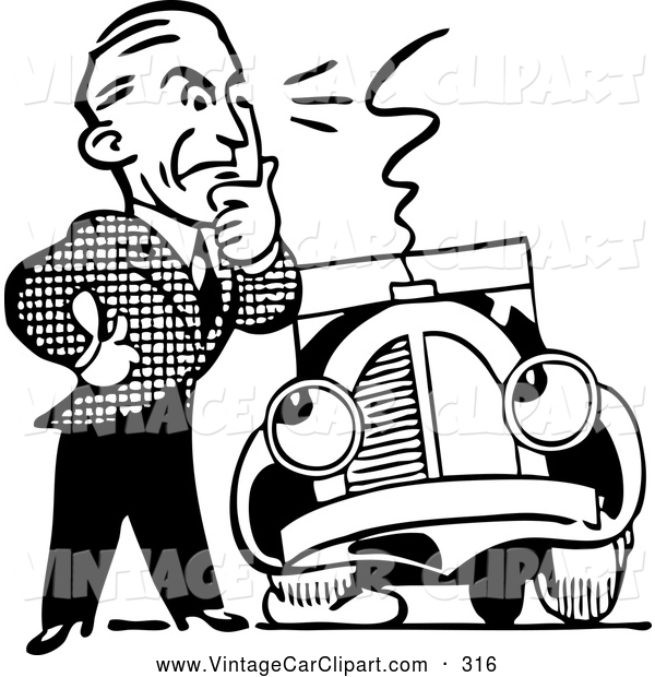 600x620 Clipart Of Thinking Blacknd White Retro Mannd Car