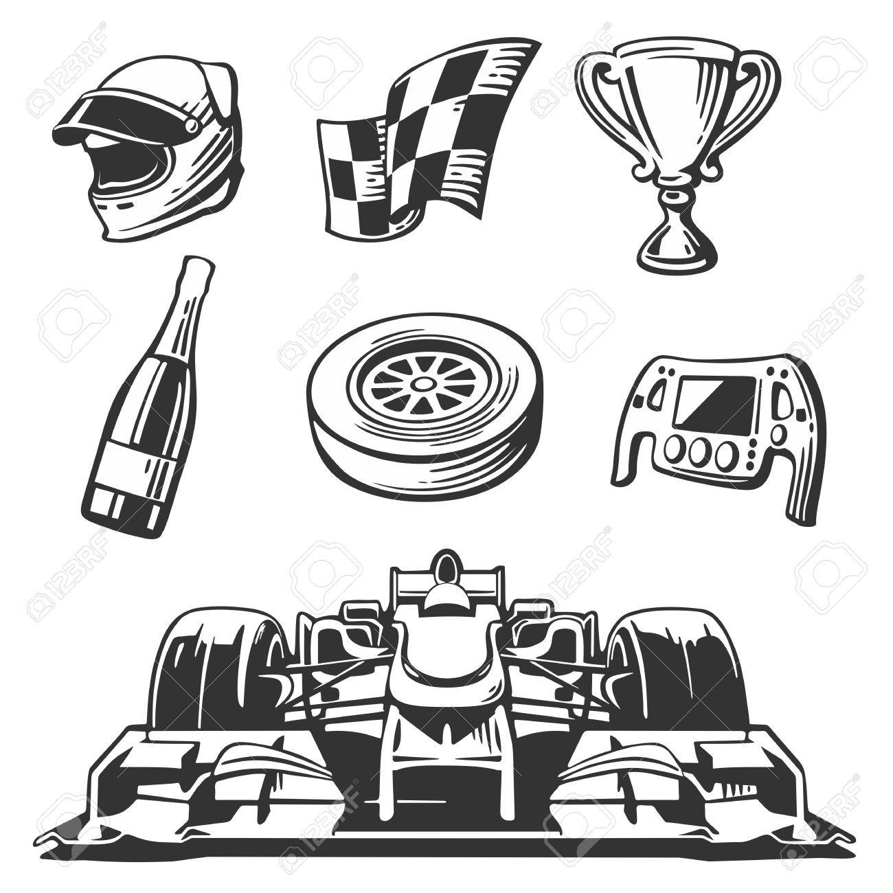 1300x1300 Car Race Icons Set. Helmet, Wheel, Tire, Speedometer, Cup