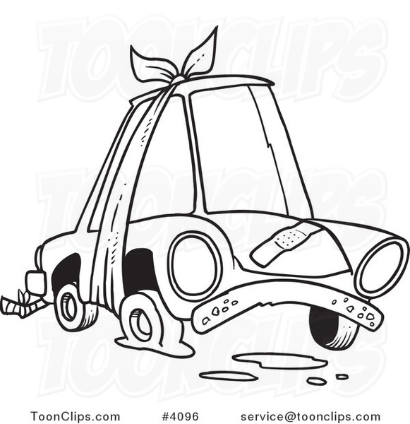 581x600 Cartoon Black And White Line Drawing Of A Beater Car With Bandages