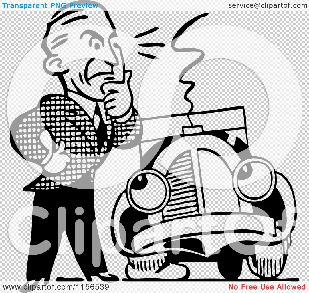 1080x1024 Clipart Of A Black And White Retro Man And Car With A Flat Tire