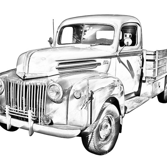 550x550 Old Flat Bed Ford Work Truck Illustration Antique Ford Fine Art