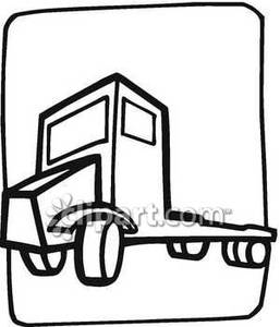 257x300 And White Illustration Of A Flatbed Trailer Truck