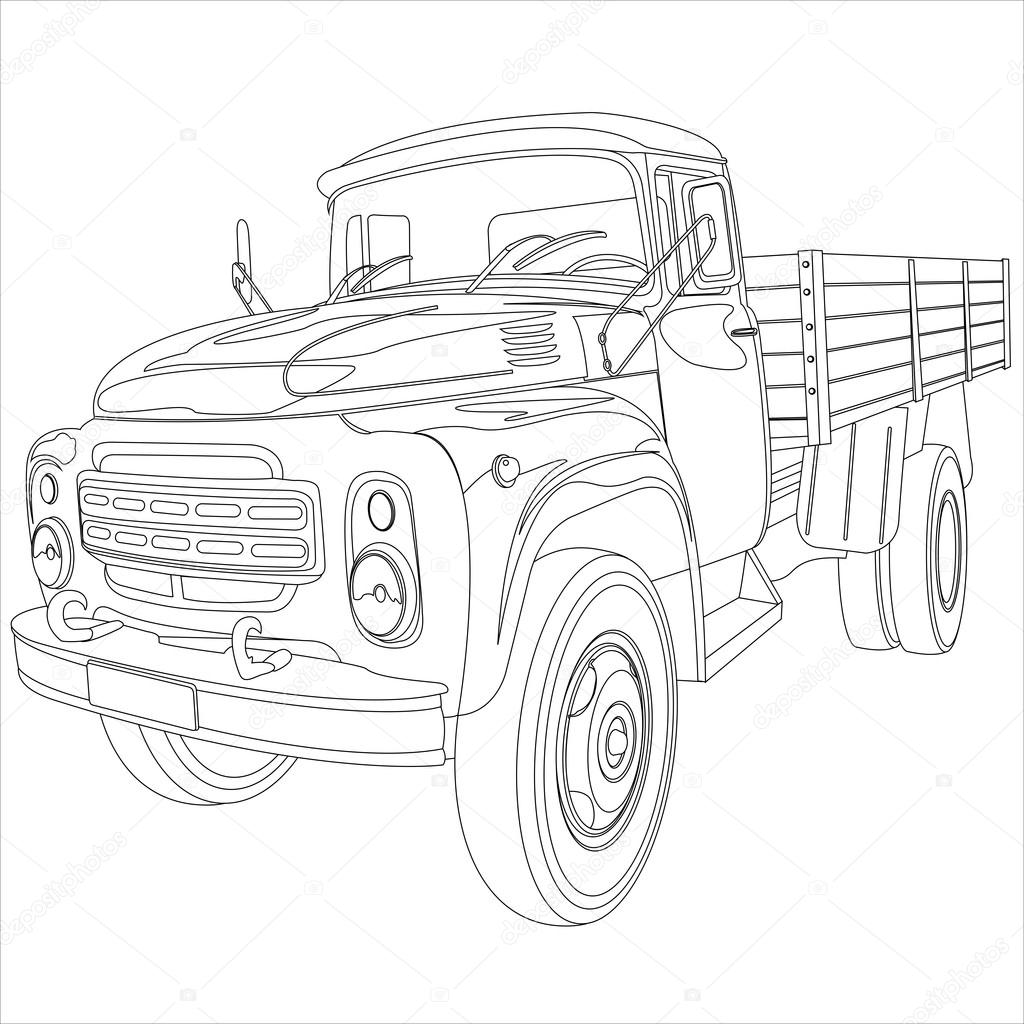 1024x1024 Truck With Flatbed Body Stock Vector Banderas777