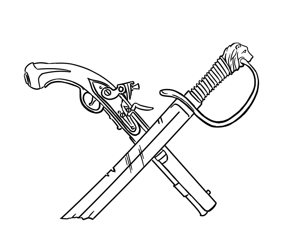 963x800 Crossed Cutlass And Flintlock Pistol Being Used For A Token