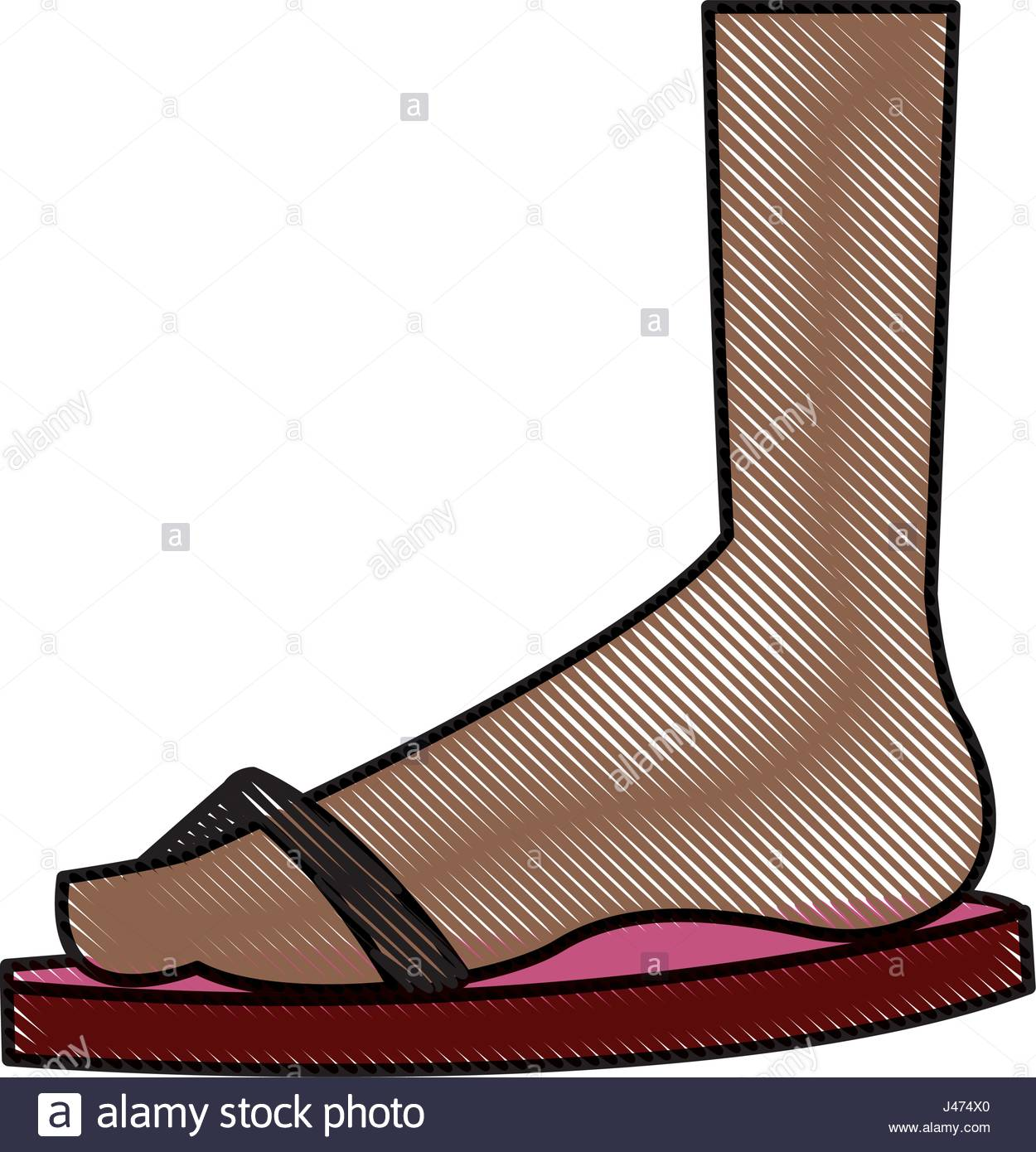 a3474b26f 1250x1390 Drawing Feet With Flip Flop Beach Design Stock Vector Art