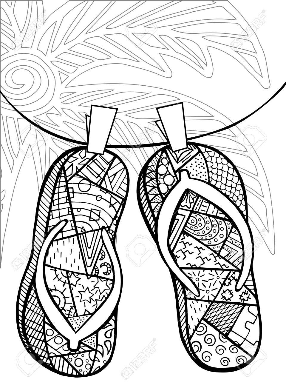 959x1300 Hand Drawn Of Flip Flops At The Beach For Coloring Book Royalty