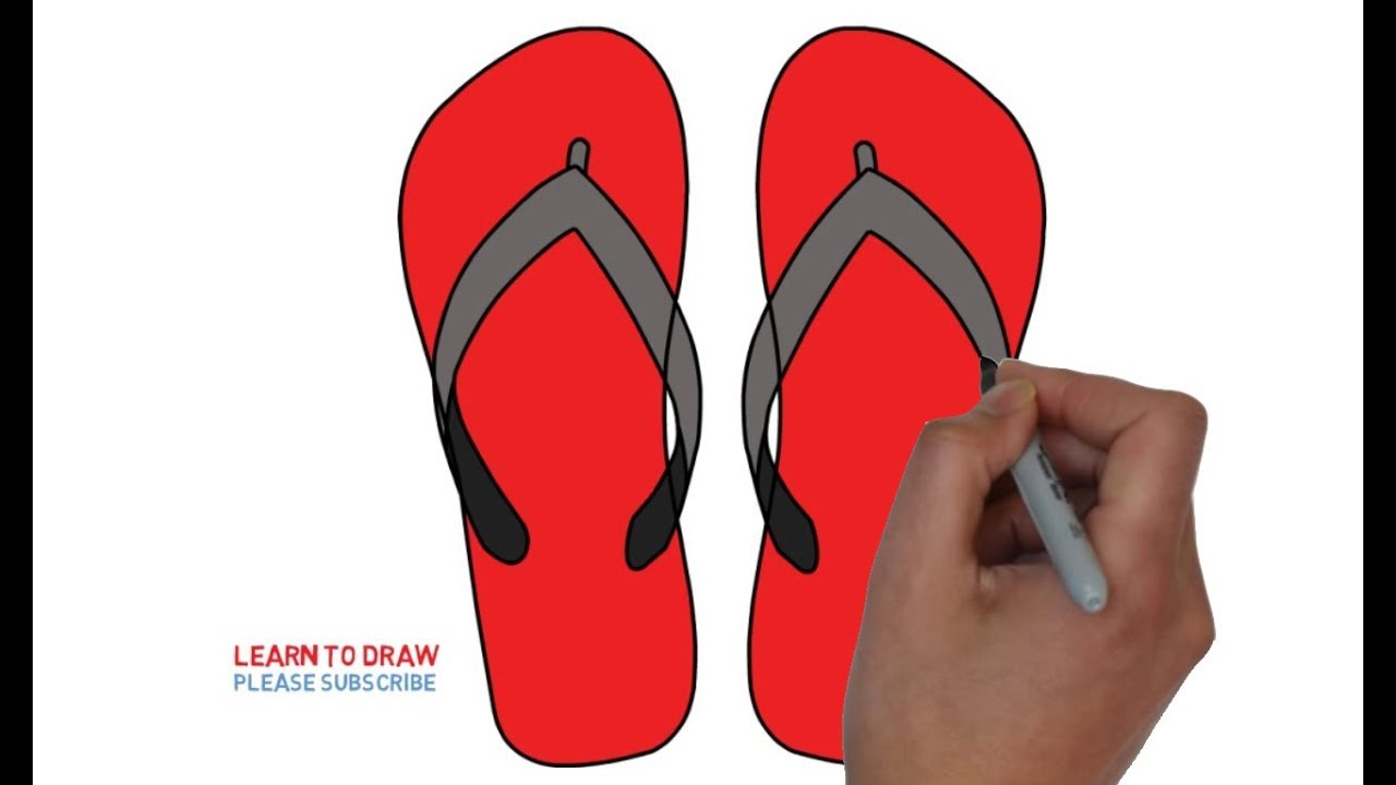 1280x720 How To Draw A Flip Flops Step By Step Easy For Kids
