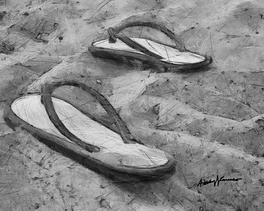900x720 Flip Flops On The Sand Digital Art By Anthony Caruso