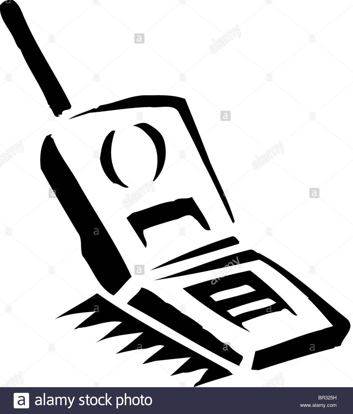 1188x1390 A Black And White Drawing Of A Flip Phone Stock Photo, Royalty