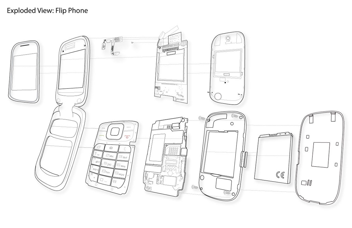 1200x776 Flip Phone Exploded View Drawing On Behance