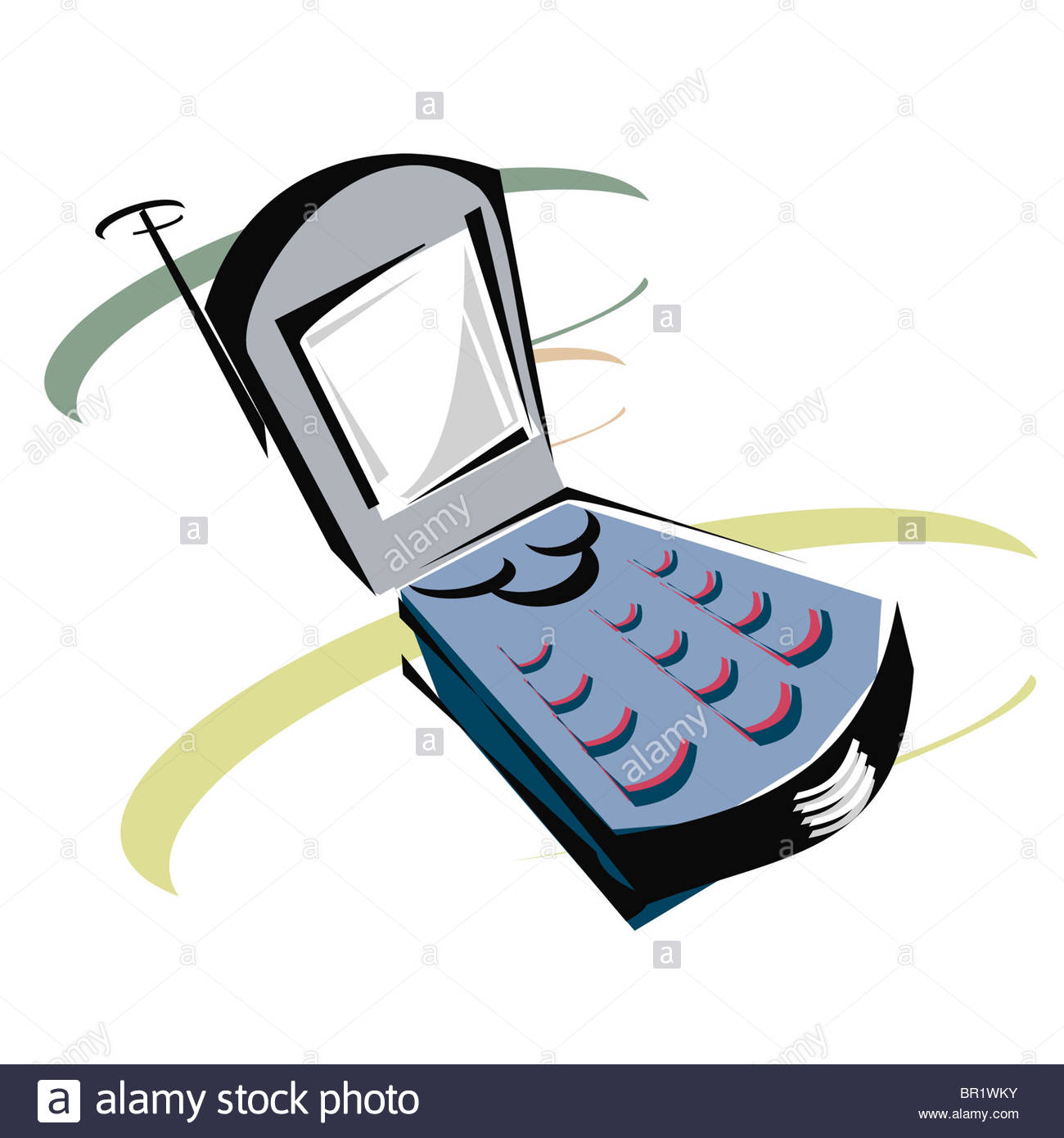 1300x1390 A Drawing Of A Flip Phone Stock Photo, Royalty Free Image