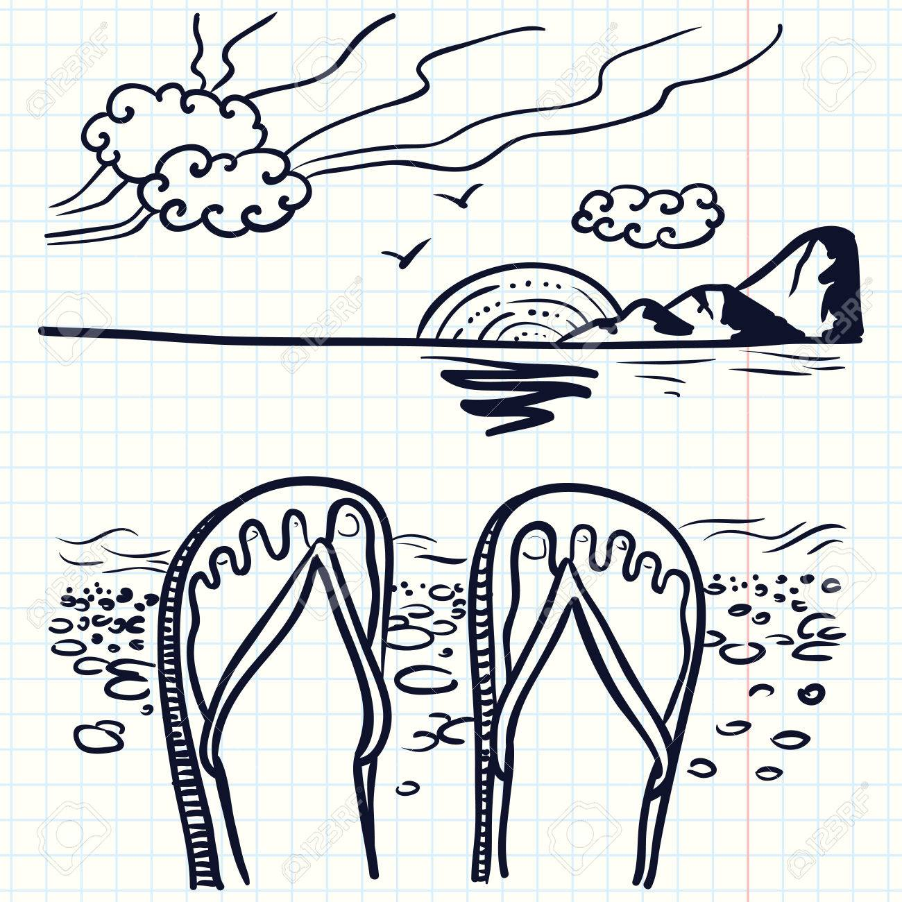 1300x1300 Hand Drawn Doodle Illustration With Flip Flop On The Beach Royalty