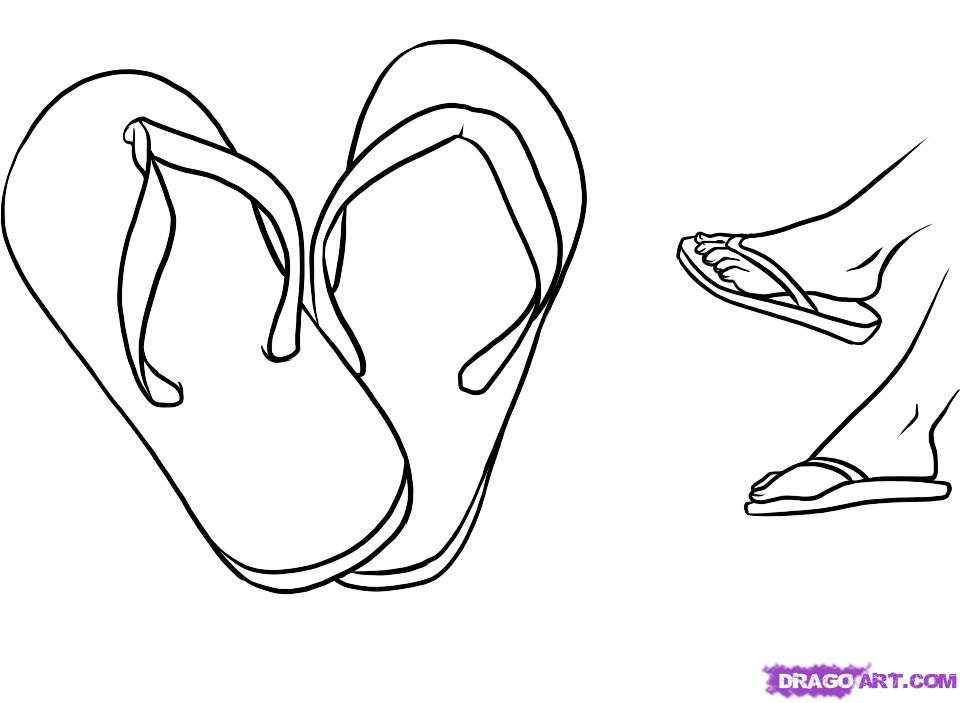 962x703 How To Draw Flip Flops, Step By Step, Fashion, Pop Culture, Free