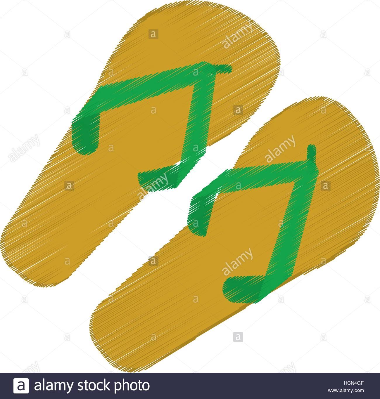 1300x1366 Drawing Green And Yellow Flip Flop Brasilian Stock Vector Art