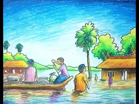 480x360 Flood Scenery With Out Line Drawing And Oil Pastel Painting
