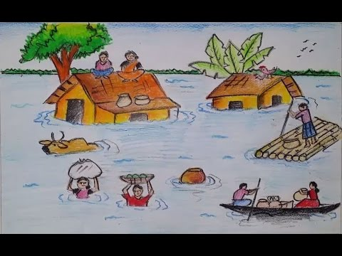480x360 How To Draw A Scenery Of Flood Affected Peoples Step By Step