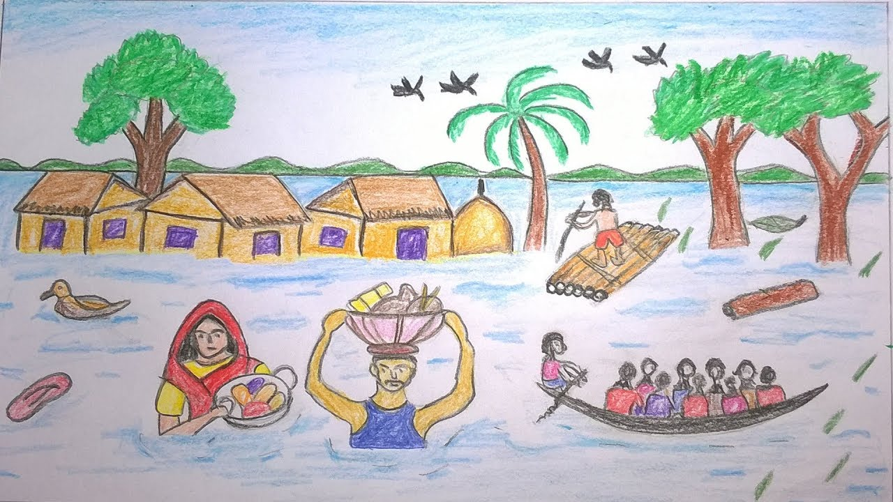 1280x720 How To Draw Scenery Of Flood In Bangladesh Step By Step