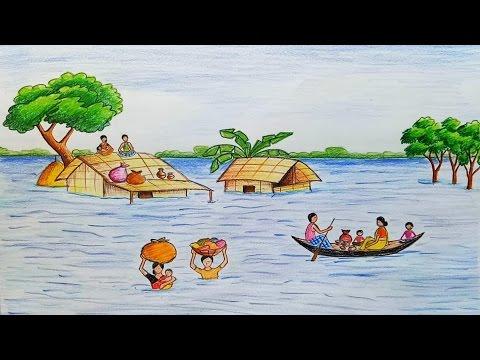 480x360 How To Draw Scenery Of Flood Step By Step Steemit